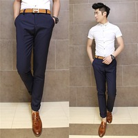 Free Shipping  Autumn M-XXXL Men's business clothing 2014 New Men Pants Pockets Decoration Korean Style social mens dress pants