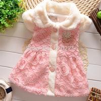 New 2014 Children Coats Girls Vest Lace Flower Girls Outerwear Vest Kids Warm Clothes Child Soft Fashion Clothing