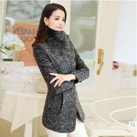 Hitz wool coat, long woolen coat female overcoat