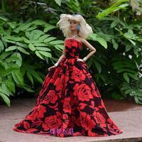 Handmade Red Rose Flower Black Dress Clothes For Barbie Doll