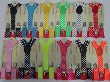 2014 Cute Розовый/Hot Розовый/Красный/Черный Цвет Polka Dotted Kids Suspenders Braces ...