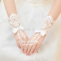 Bride short beading wedding gloves bridal accessories marriage wedding gloves lace decoration gloves 59