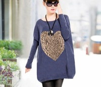Women Maternity Knitted Sweater Long Shape Heart Pattern Pregnant Clothing Pullover Sweaters