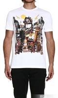 2014 Free Shipping  100% cotton male short-sleeve o-neck print t-shirt man /Size:M,L,XL,XXL/3color:Black,white and Gray