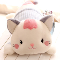 toys baby smile lying cartoon cat plush animal hold doll pillow sweet stuffed toy girl baby birthday gift free shipping