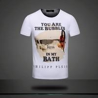 Beauty bath print 2014 100% male short-sleeve cotton round neck man t-shirt/3color:Black,white,gray/Size:M,L,XL,XXL