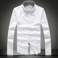 2014 newest famous brands men's dress shirt autumn/ winter long-sleeve shirt slim dot jacquard 100% male cotton shirt white a830