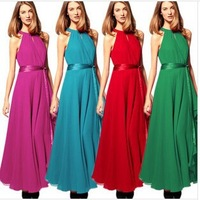 Ladies in Europe and the irregular posed sleeveless chiffon dress Dew shoulder neck dress