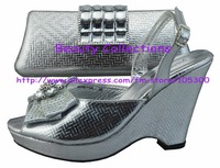 FREE SHIPPING!New arrival fashion nice matching shoe and bag set  EVS295 silver size 38 to 42 for retail and wholesale