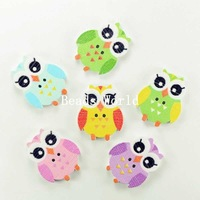 100 Pcs Mixed Owl Halloween 2 Holes Wood Clothing Accessories Sewing Buttons Scrapbooking 25x20mm Jewelry Findings (W03911 X 1)