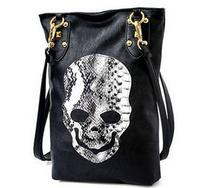 2014 new features women messenger bag PU skull rivet tramp rock shoulder bag handbag