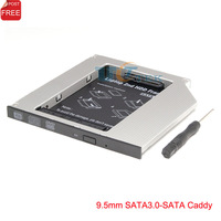 Ultra Slim SATA to SATA 9.5mm Universal 2nd Hard Drive HDD Caddy Adapter For Laptop CD DVD Optical Drive Bay SP Free Shipping