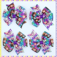 3.1'' Free shipping anna elsa Ribbon Bows with hair clip headband headwear hairbow diy decoration wholesale OEM H2641
