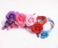 Wholesale 20pcs/lot New PU Leather Pet Collar Lovely Cloth Flower Dog Cat Collar