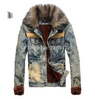 2014 Men Winter Jacket, Thick Velvet Warm Denim Jacket, Casual Big Fur Collar Denim Jackets Coats