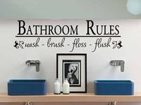 Vinl Wall Quotes Sticker Decal Bathroom Rules Wash Brush Floss Flush Bathroom Sticker Size 81*25cm