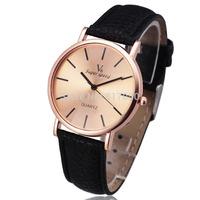 new 2014 fashion V6 brand stylish design clock gold dial thin leather classic retro men women wrist dress quartz watch