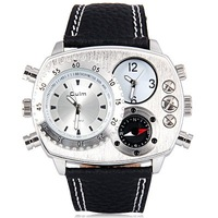15pcs Oulm Cool Men Quartz Military Watch with Dual Movt Design Analog Elliptical Dial and Genuine Leather Watch Band wristwatch
