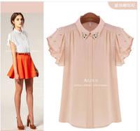 [R-301] Free shipping 2014 summer chiffon blouse Lotus leaf sleeve summer women new diamond fashion high collar chiffon shirt