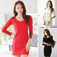 2014 autumn and winter new fashion women's basic dresses S,M,L,XL,XXL,XXXL plus size high quality dress 011