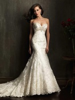 Luxury  Vintage Mermaid Wedding Dresses Sexy Sweetheart White Lace Wedding Dress With Crystal Beaded Lace Applique XZ0089