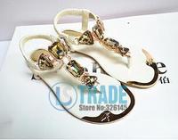 2 colors new Summer flats 2014 fashion women sandals diamond ladies women shoes 2014 US 5 -10 hot sale Free shipping