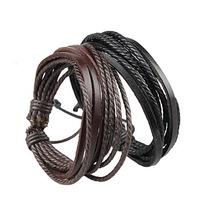 1pc/lot, Leather Bracelet Mens Womens Wrap Multilayer Bracelet & Bangles, Pulseira Masculina Couro, Colorful Friendship Bracelet