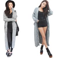2014 Autumn And Winter Women Cardigan Knitwear, Fashion Long Sleeve, Grey Casual Long Cardigan, Sweater Coat-F6619
