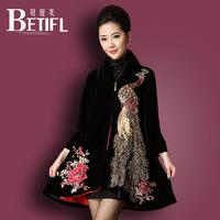 2014HOT Desigual qiu dong female coat dust coat black printing national wind coat