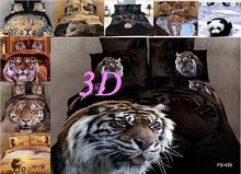 Luxo marca de óleo 3D paiting100 % algodão tiger leopard leão panda rainha impresso colcha definir conjunto de cama(China (Mainland))