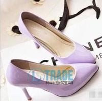 2014 Free Shipping Point Toe 9CM Heel PU Pumps Oxford Fashion Shoes Women Soft PU Casual High Heel Shoes Women BZY011