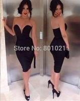 Top Sale Vestido de Festa bodycon dresses Sleeveless Black Sheath Cocktail Party Homecoming Dress 2015 For Women Custom Made