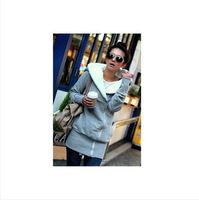 New Autumn Korean female models to increase oblique zipper hooded long-sleeved personalized sweater coat thick lamb