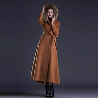 woolen coat women wool cloak coat Shawl Collar Winter Coat  Full Length Coat 2014 x long coat with belt double breasted coat