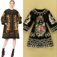 Plus SIZE 2014 European Catwalk High-end Custom Heavy Gold Thread Embroidery Ladies Fashion Trench 0814 Key Print Outerwear