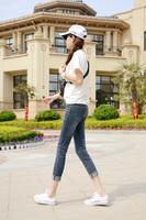 FREE SHIPPING Slim denim ankle length trousers skinny pants