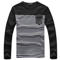 wholesale M-3XL 2014 Hot selling t shirt men fashion casual shirt o-neck long sleeve men's t shirts brand stripe free shipping