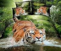Hot Beautiful 4PC 100% COTTON COMFORTER DUVET DOONA COVER SET FULL / QUEEN / KING bedding set 4pcs animal green tiger