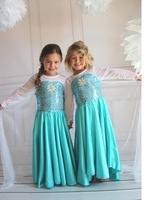 2014 Free Shipping Frozen movie princess Elsa Dress Costume for Children Elsa Kids cosplay Costume CXCC-6589