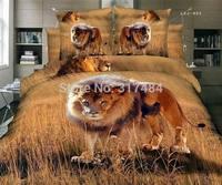 Hot Beautiful 4PC 100% COTTON COMFORTER DUVET DOONA COVER SET FULL / QUEEN / KING bedding set 4pcs animal wild lion tiger