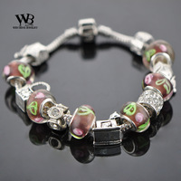 2014 new fashion love Style pulseiras femininas DIY CZ crystal Glass Beads Silver Bracelets Women bracelet WPA0866