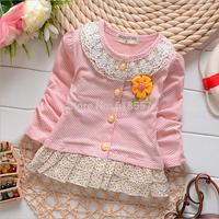 T812 New 2014 Spring Autumn Children Long Sleeved Dot Dresses, Infantis Baby Girl  A-Line Lace Collar Princess Dress  F15
