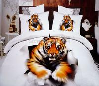 Hot Beautiful 4PC 100% COTTON COMFORTER DUVET DOONA COVER SET FULL / QUEEN / KING bedding set 4pcs animal white golden tiger