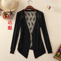 happy SZ   v-neck sunscreen unlined upper garment Cardigan Sweater Long sleeve Casual Slim Cotton Solid Knitwear Coat ks0031