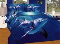 Hot Beautiful 4PC 100% COTTON COMFORTER DUVET DOONA COVER SET FULL / QUEEN / KING bedding set 4pcs animal blue dolphine