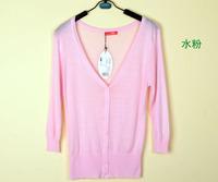 happy SZ   Ladies Seven point sleeve Knitted Blouses New  Brand Girl Hollow V collar Crochet Cardigan Women ks0038