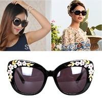 New 2014 Luxury Queen Baroque Sunglasses Women Rose Flower Vintage Girls Oculos De Sol oversize brand design women sunglass