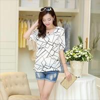 happy SZ   Women Blouses Hot Selling Loose Printed Chiffon Blouse Tops Autumn-Summer Dot/Heart Sale Shirt FTX006