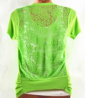 happy SZ   Ladies Short Sleeve Knitted Blouses New  Brand Girl Hollow lace V collar Crochet Cardigan Women ks0036