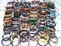 Free Shipping Tribal Ethnic Leather Bracelets Wristband Surf Fashion Jewelry Mix Color 100pcs/lot